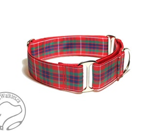 """Fraser Clan Tartan Dog Collar - 1.5""""(38mm) Wide - Outlander Tartan - Red Plaid - Martingale or Side Release -Choice of collar style and size"""