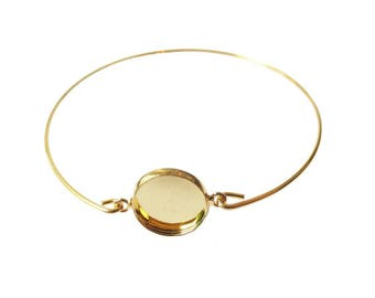 Medium gold Bangle Bracelet 12mm cabochon