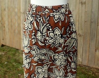 Early 1990s Jones New York Brown Floral Skirt --LAST CHANCE CLEARANCE