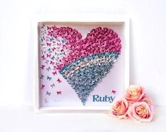 Blue Paper butterflies  ,Pink Butterflies, Turquoise  Heart    Paper butterflies 3D paper art   pink butterflies Heart Frame Decor 