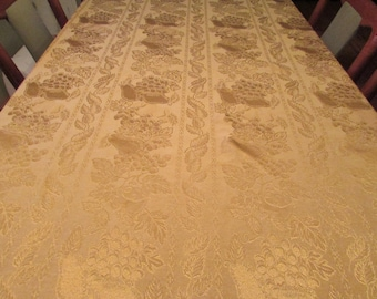 Large Fruit Motif Oval Tablecloth - Gold Damask - 58 by 81 inches Oval