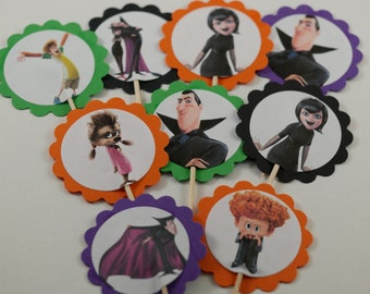 SALE set of 12 cupcake picks, Hotel Transylvania, Birthday cupcake toppers, Birthday cupcake picks, Hotel Transylvania cupcake picks