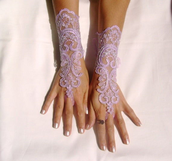 Lavender  gloves lilac bridal gloves light purple fingerless lace gloves french lace  silver frame, bridesmaid dresses, glove