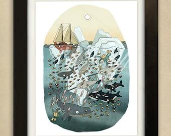 Arctic Ocean Illustration - Children's Art Print