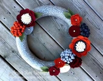 Fall Yarn Wreath, Fall Wreath