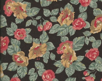 Vintage Black Floral Print Fabric 2 1/2 yards