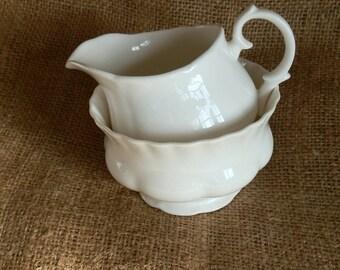 Vintage 1930's English White China Milk / Cream Jug and Sugar Bowl Set