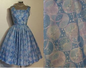 "Great late 1950s print hawaiian sundress w/tie shoulders waist 25 1/2"""