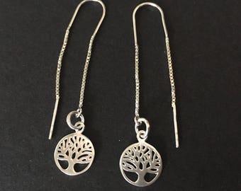 Tree of Life Threader Earrings, Sterling Silver Long Chain Earrings, Silver Threader Earrings, Silver Jewellery Gift, Tree of Life Earrings