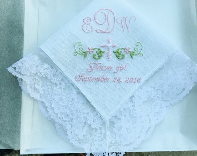 Flower Girl Gift Monogrammed Handkerchief, Embroidered Wedding Handkerchiefs, Junior Bridesmaid Gifts, Wedding Party Gifts, Custom Hankies