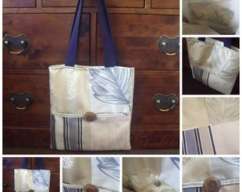 ONE OFF Patchwork Curtain Material Shopping Bag/Tote with Internal and Large External Pockets