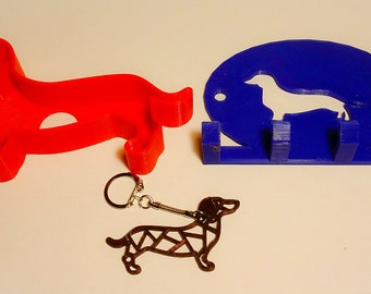 Daschund set,cookie cutter,leash holder,& keychain,High Quality 3D Printed,PLA PLASTIC(food grade)free shipping