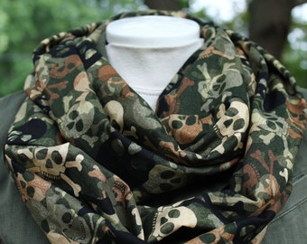 Infinity Scarf. Skull scarf. Day of the dead scarf. Scarf.  camouflage skull scarf. Green scarf. Brown scarf. Sugar skull scarf.
