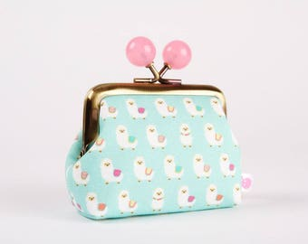 Metal frame coin purse with color bobbles - Alpaca party - Color mum / Heather Hight Design / Kawaii llama / mint green pink white