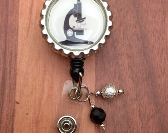 Badge Reel Microscope Laboratory design Lab Week gift idea