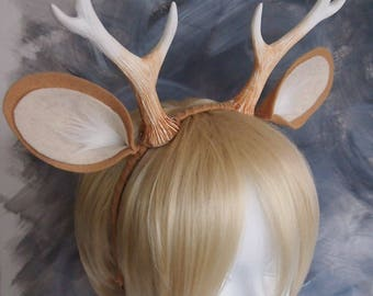 Faun 6  Antlers and Ears Headband / Light Tan / Deer Costume /Resin Cast & Faun 4 Antlers and Ears Headband / Medium Tan / Deer