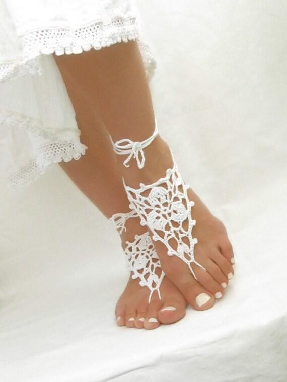 sandales blanc au crochet plage sandales mariage mari es