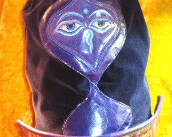 Slouchy Dread Hat Beanie in Purple Velvet/ Leather with Karma Face/ Kente Details Unisex Style