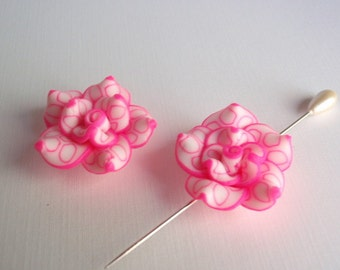 4 Polymer Clay Rose Beads, Jewelry Making & Craft Supplies, Beautiful Handmade Roses, White and Hot Pink