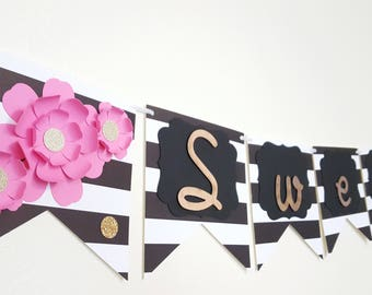 Sweet Sixteen Banner, Sweet 16 Decor, Pink Black and Gold Themed, Kate Spade Inspired Banner, Party Decor, 16th Birthday, Elegant Banner