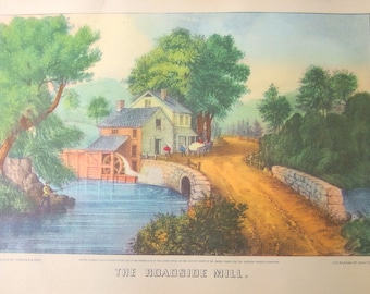 Vintage Framed Currier and Ives Lithograph - The Roadside Mill