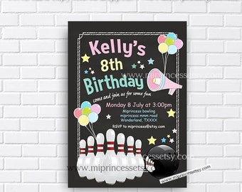 Bowling Birthday, kids birthday, Bowling party, bowling invitation, girl bowling party, kids bowling, kids party, bowling, card 241