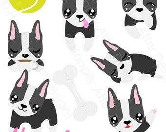 Boston Terrier Dog Clipart, dog clip art, Boston Terriers, dog breed design, cute dog clipart, puppy clipart, digital clipart, commercial