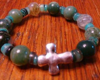 Jasper Bead Bracelet, Rosary Bracelet, Stretch Bracelet, Christian Bracelet