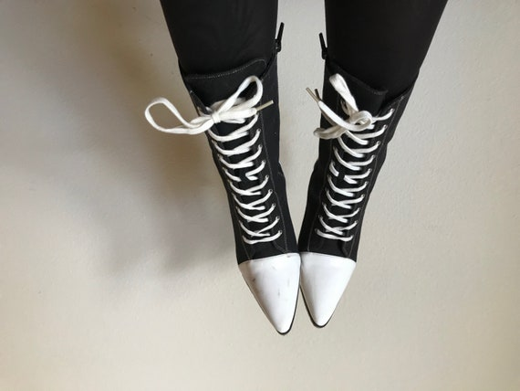 Pointed Lace-Ups | 7.5 stiletto two tone black and white lace up tie shoes boots womens 7 urban 90s vintage cyber punk goth industrial