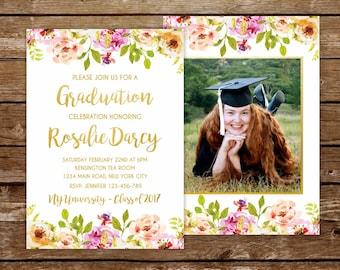 graduation invite girl graduation party invitation floral invitation high school prom invitation university grad party invitation spring 237
