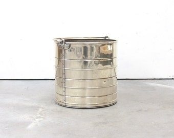 English Brass and Copper Bucket with Folding Handle