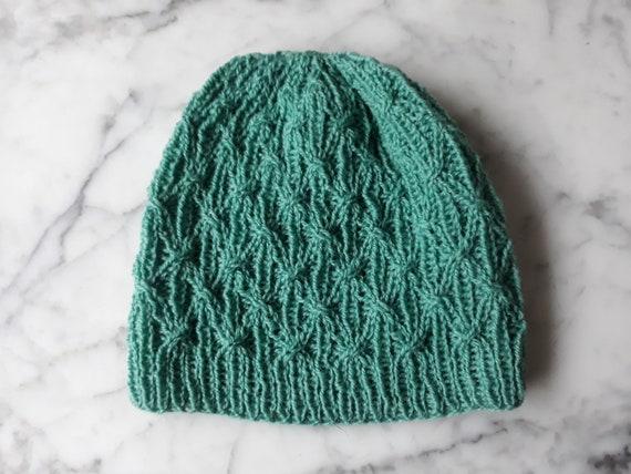 Beanie hat: handknit wool beanie in sea green. Original design. Made in Ireland. Beanie for him. Beanie for her. Cable knit beanie Green hat