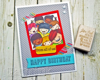 Cute Kawaii Happy Birthday From All of Us Fancy Greeting Card Handmade Red Blue Green for Friend Coworker Family