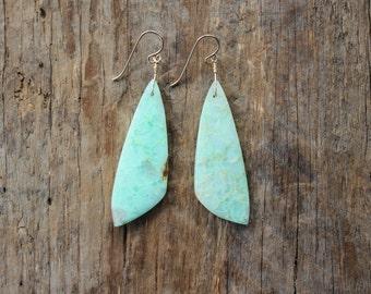 Chrysoprase Stone Statement Earrings- Gold