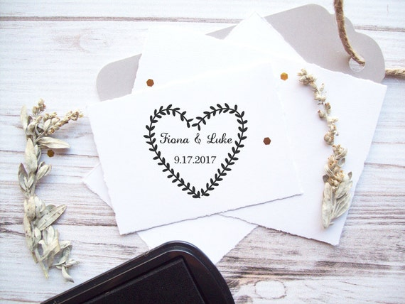 Heart Wreath Stamp with Names and Date - Laurel Wreath Vines Wedding Save the Dates Invitations