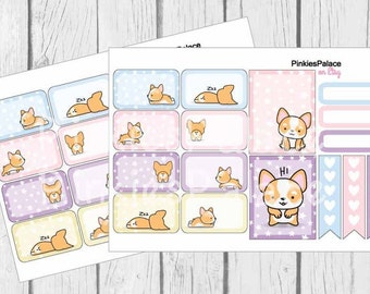 Corgi Planner Stickers Half Box Full Box Skinny Stickers Pastel Colors PS450