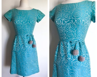 Vintage Dress. 1960's Turquoise and Silver Mod Girl Fitted Bodice A-line Skirt Cap Sleeve Secretary Dress. Retro Party Fashion. Size Small
