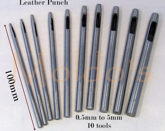 Punch Leather 10 Set Hole Hollow plastic belt steel punching kit hand tool .