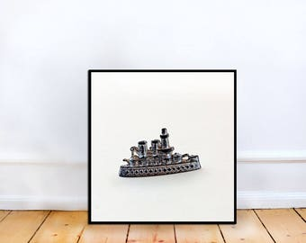 Fine Art Photo - Monopoly Ship Game Piece, square Fine Art Photography, kids room, home decor, Photography