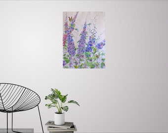 Delphinum watercolor art, abstract floral art, delphinium art print, flower painting, garden art, wall decor, wildflower art