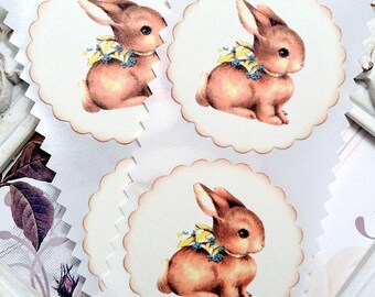 Easter Bunny Stickers (8) - Bunny Seals-Bunny Labels-Favor Stickers-Easter Labels-Shabby Easter Sticker-Vintage Sticker-Easter Embellishment