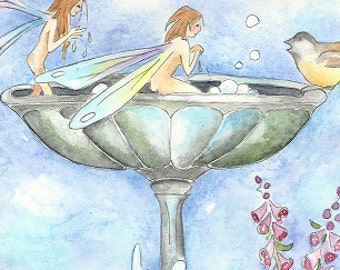 Skinny Dipping..fairy art print...8x10