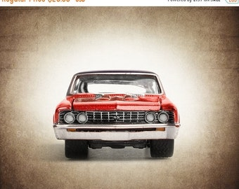 FLASH SALE til MIDNIGHT Vintage Red Nova Front End, One Photo Print, Boys Room decor, Vintage Car Prints