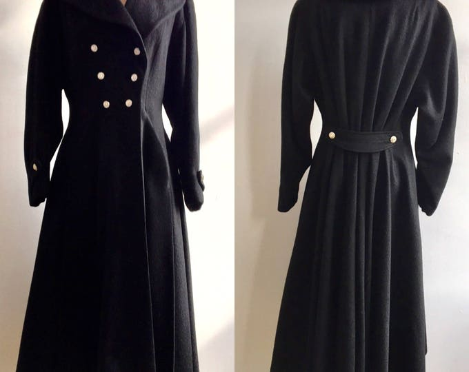 1950s New Look Black Fit and Flare Princess Coat