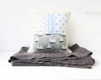 Modern patchwork cushion cover, blue and green nautical nursery decor, boys nursery cushion, modern patchwork pillow, handmade in the UK