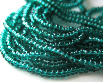 10 Grams Glass Seed Beads 11/0 Transparent Teal Green