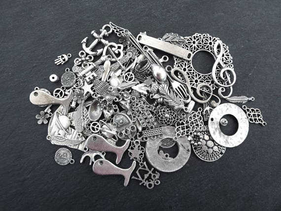 Clearance Discount   Mixture Of Jewelry Supplies   Pack 1   Matte Silver Plated by Etsy