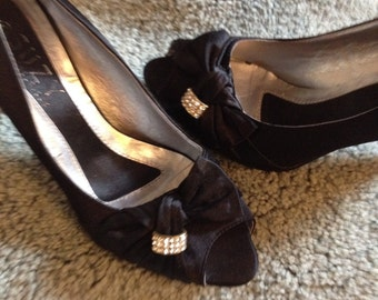 Vintage Black Satin Heels & Rhinestones/ Suzie Shier/Gorgeous Size 10 Pumps! FREE SHIPPING!