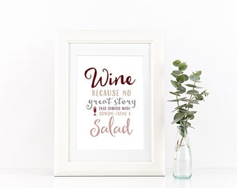 Art Print 8X10 | INSTANT DOWNLOAD | wine vs salad