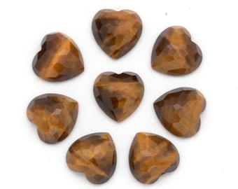 CLEARANCE 15mm x 15mm Heart Shaped Tiger Eye Rose Cut Faceted Cabochons Brown